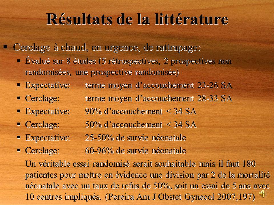 Résultats de la littérature Cerclage à chaud, en urgence, de rattrapage: Évalué sur 8 études (5 rétrospectives, 2 prospectives non randomisées, une pr