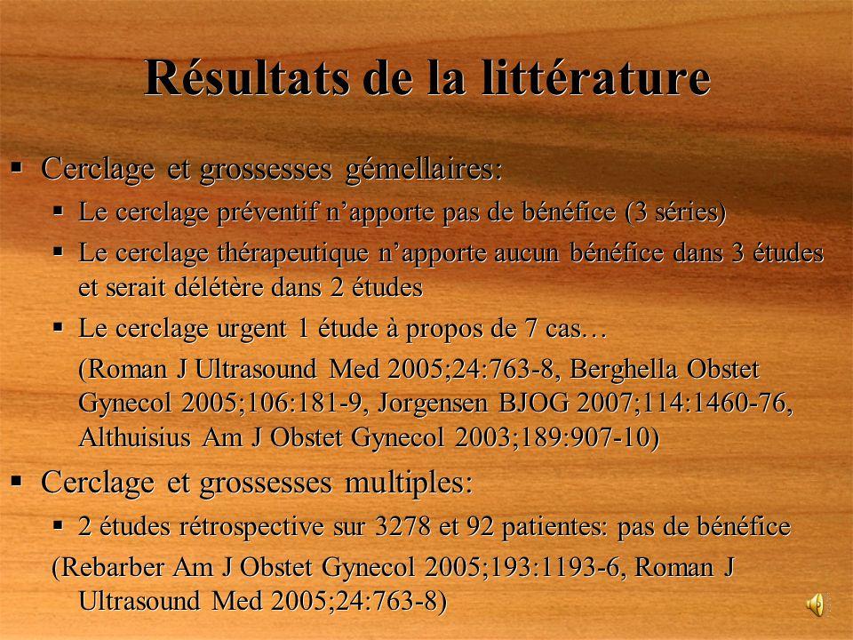 Résultats de la littérature Cerclage et grossesses gémellaires: Le cerclage préventif napporte pas de bénéfice (3 séries) Le cerclage thérapeutique na
