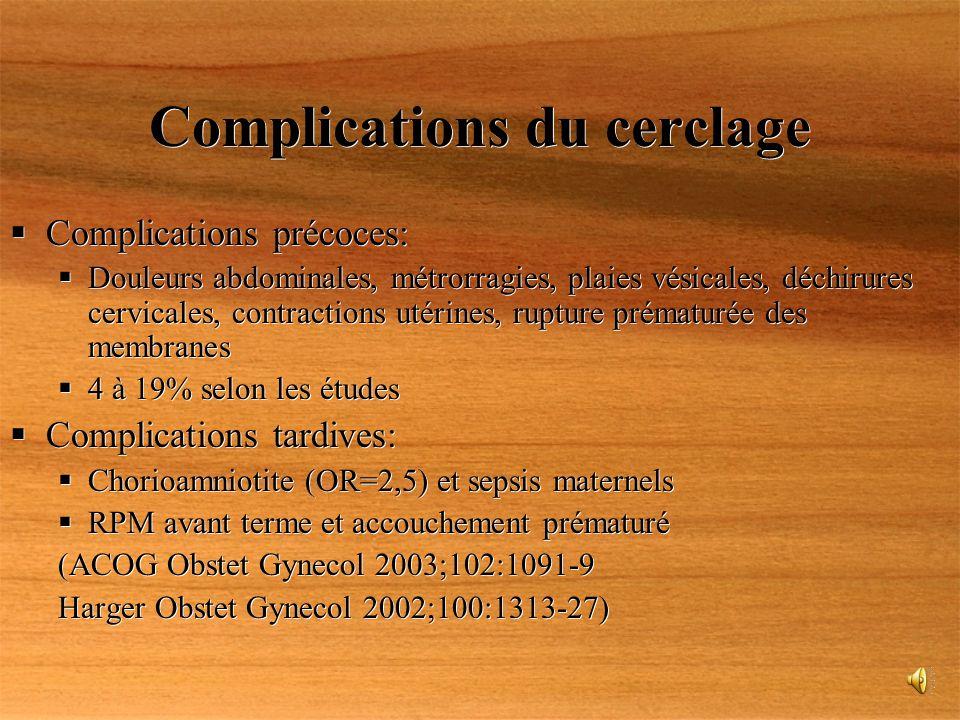 Complications du cerclage Complications précoces: Douleurs abdominales, métrorragies, plaies vésicales, déchirures cervicales, contractions utérines,
