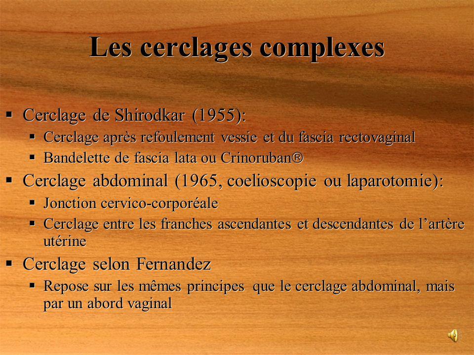 Les cerclages complexes Cerclage de Shirodkar (1955): Cerclage après refoulement vessie et du fascia rectovaginal Bandelette de fascia lata ou Crinoru