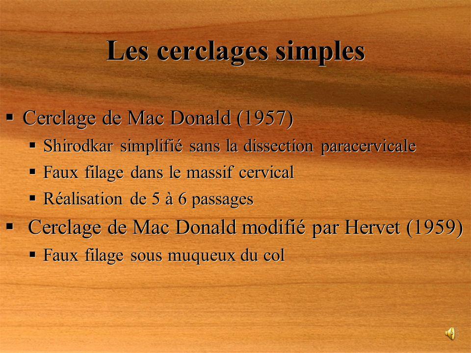 Les cerclages simples Cerclage de Mac Donald (1957) Shirodkar simplifié sans la dissection paracervicale Faux filage dans le massif cervical Réalisati