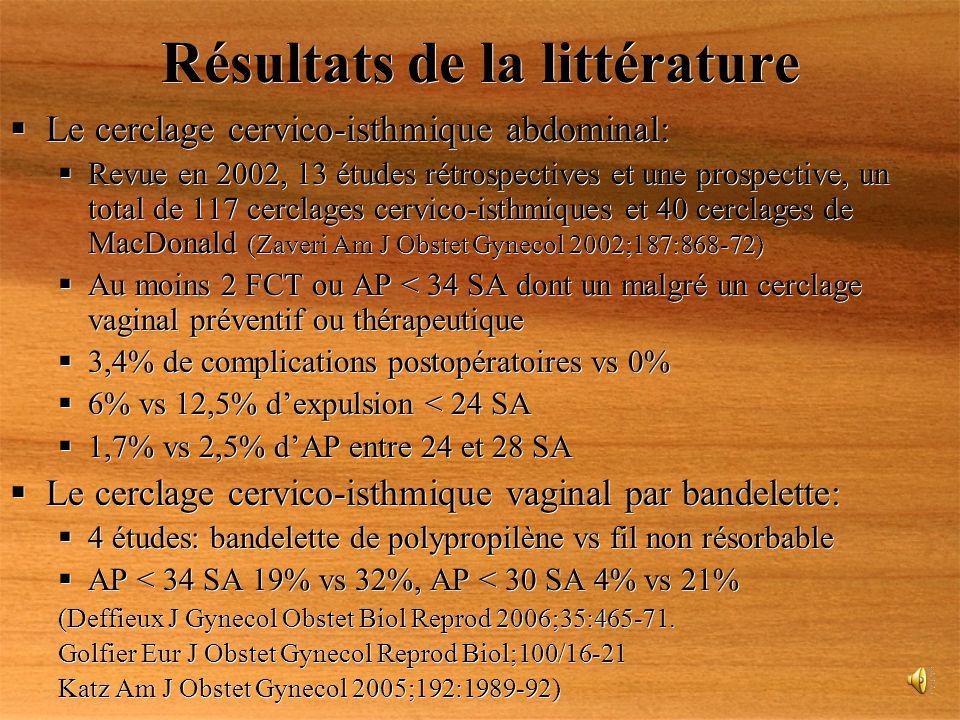 Résultats de la littérature Le cerclage cervico-isthmique abdominal: Revue en 2002, 13 études rétrospectives et une prospective, un total de 117 cercl