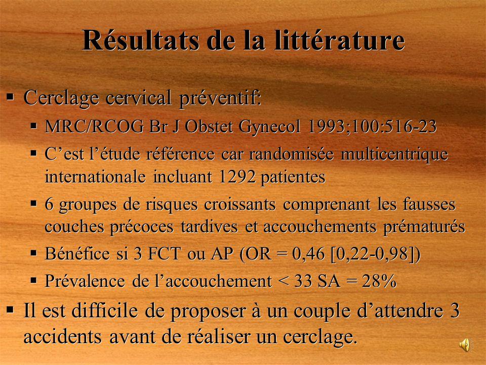 Résultats de la littérature Cerclage cervical préventif: MRC/RCOG Br J Obstet Gynecol 1993;100:516-23 Cest létude référence car randomisée multicentri