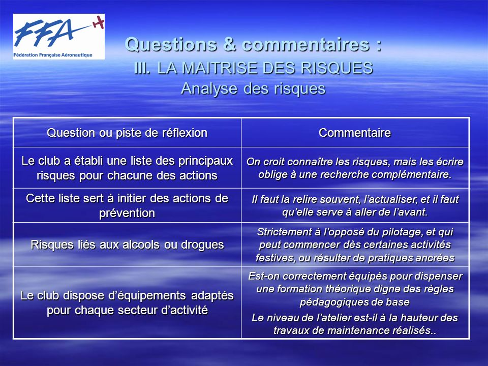 Questions & commentaires : III.