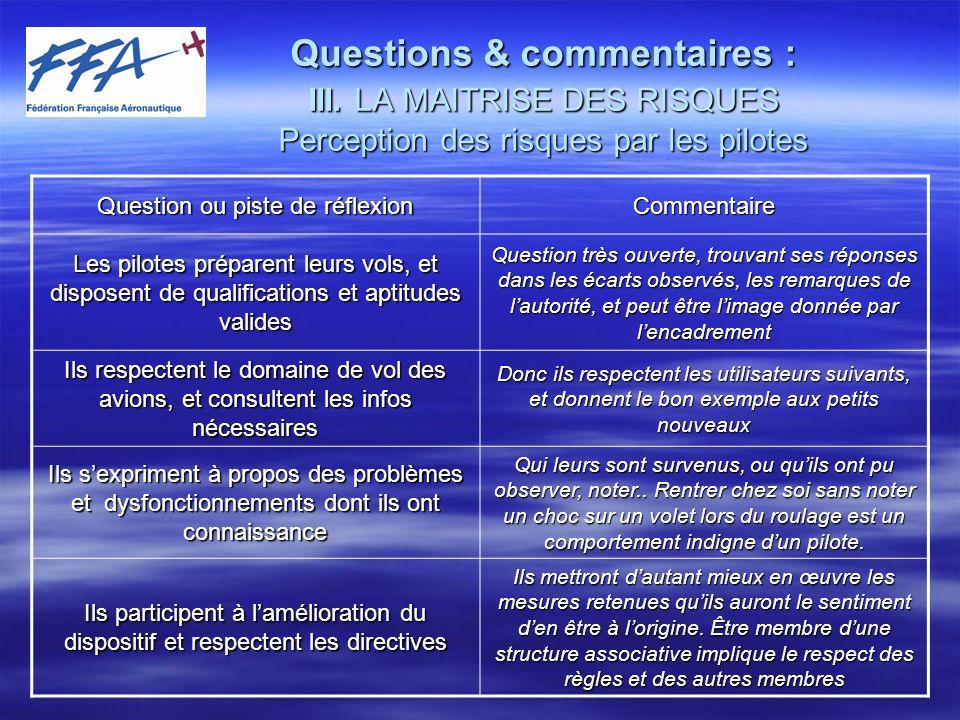 Questions et commentaires : IV.