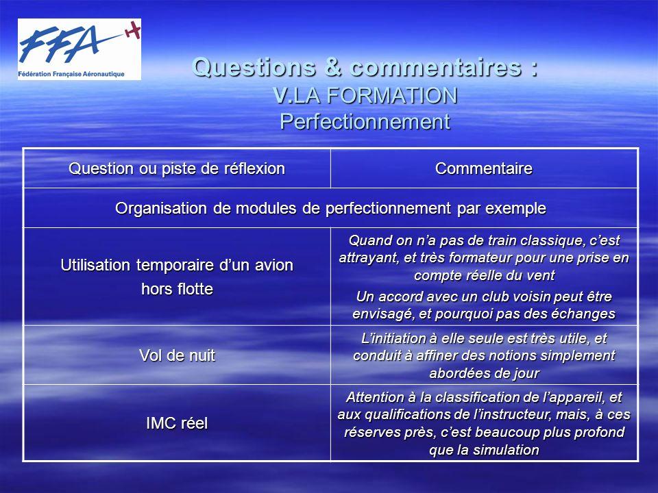 Questions & commentaires : VI.