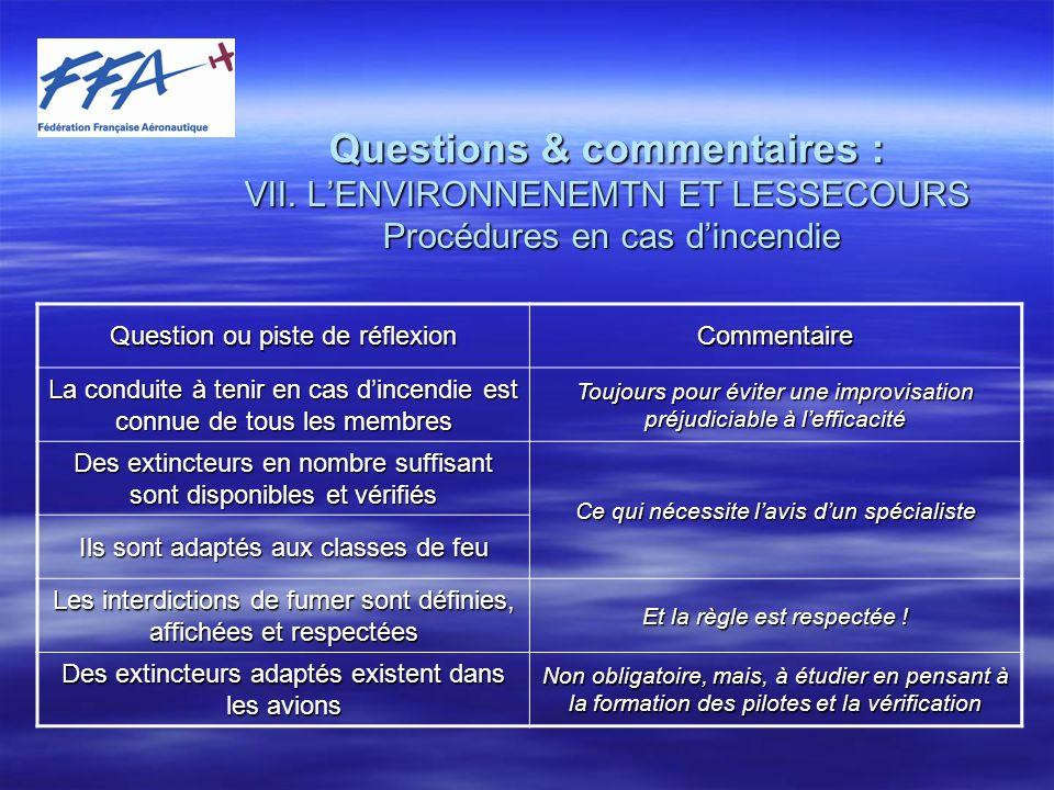 Questions et commentaires : VII.