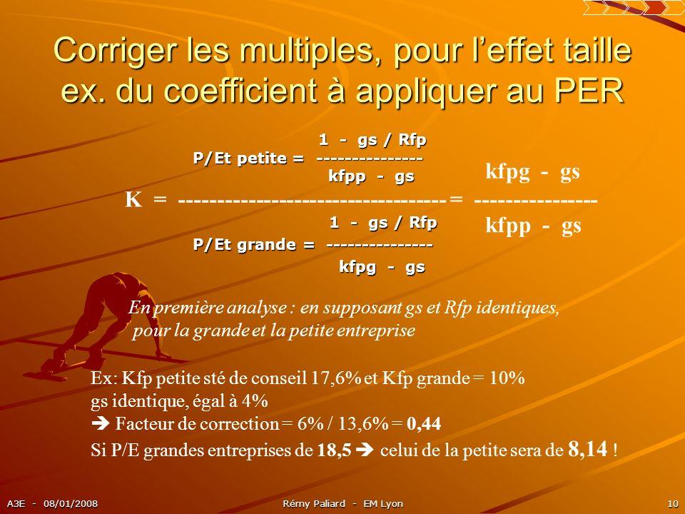 A3E - 08/01/2008Rémy Paliard - EM Lyon10 Corriger les multiples, pour leffet taille ex. du coefficient à appliquer au PER 1 - gs / Rfp 1 - gs / Rfp P/
