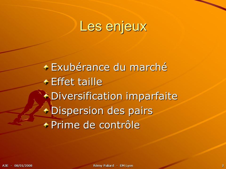 A3E - 08/01/2008Rémy Paliard - EM Lyon2 Les enjeux Exubérance du marché Effet taille Diversification imparfaite Dispersion des pairs Prime de contrôle
