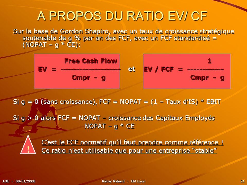 A3E - 08/01/2008Rémy Paliard - EM Lyon21 A PROPOS DU RATIO EV/ CF ! Sur la base de Gordon Shapiro, avec un taux de croissance stratégique soutenable d