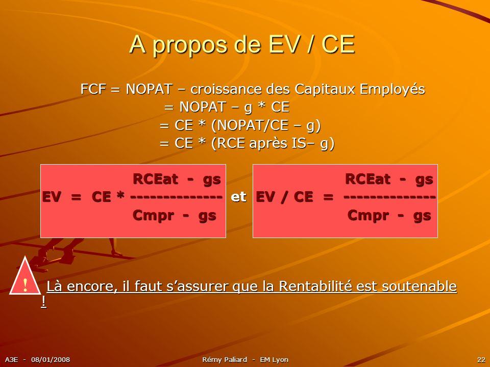 A3E - 08/01/2008Rémy Paliard - EM Lyon22 A propos de EV / CE ! FCF = NOPAT – croissance des Capitaux Employés FCF = NOPAT – croissance des Capitaux Em