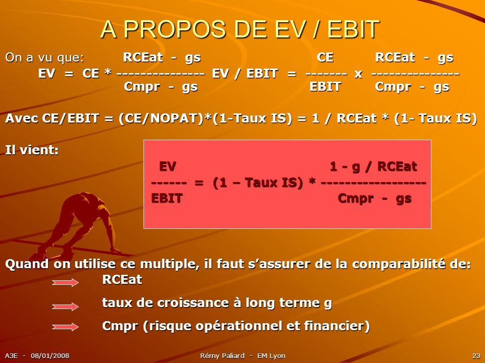 A3E - 08/01/2008Rémy Paliard - EM Lyon23 A PROPOS DE EV / EBIT On a vu que: RCEat - gs CE RCEat - gs EV = CE * --------------- EV / EBIT = ------- x -