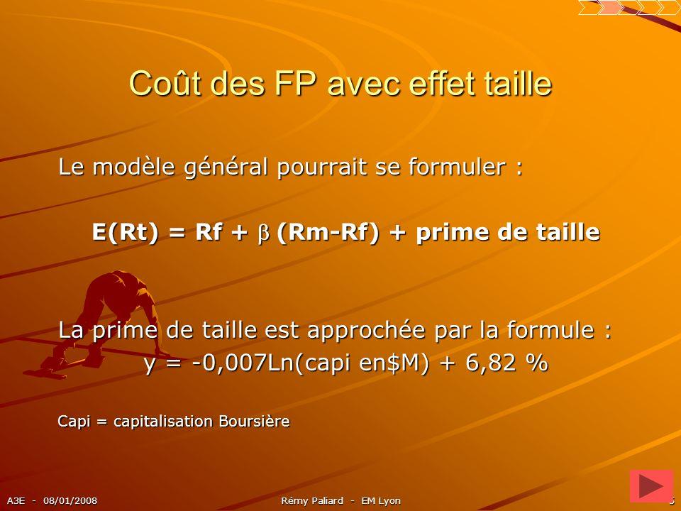 A3E - 08/01/2008Rémy Paliard - EM Lyon5 Coût des FP avec effet taille Le modèle général pourrait se formuler : E(Rt) = Rf + (Rm-Rf) + prime de taille