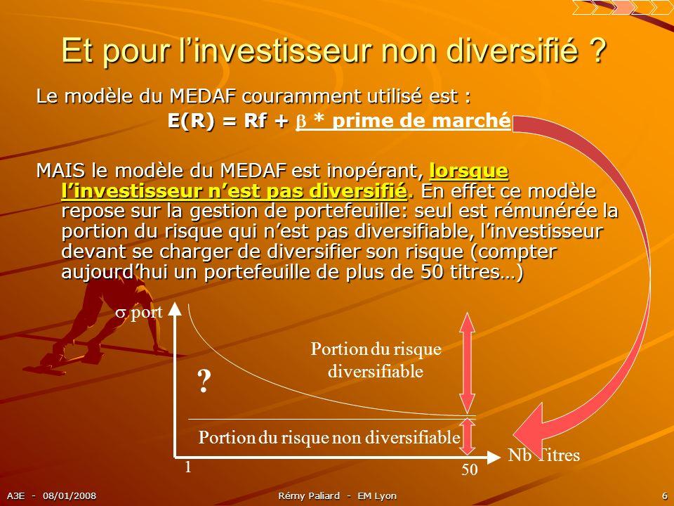 A3E - 08/01/2008Rémy Paliard - EM Lyon6 Et pour linvestisseur non diversifié ? Le modèle du MEDAF couramment utilisé est : E(R) = Rf + E(R) = Rf + * p