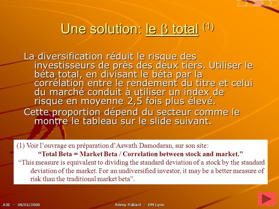 A3E - 08/01/2008Rémy Paliard - EM Lyon7 Une solution: le total (1) La diversification réduit le risque des investisseurs de près des deux tiers. Utili