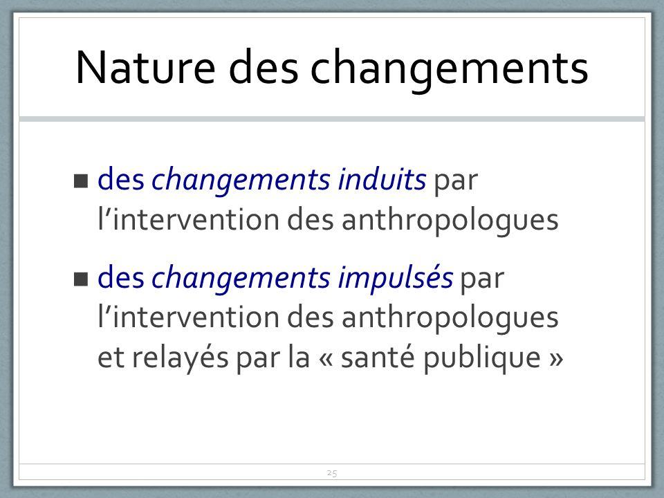 25 Nature des changements des changements induits par lintervention des anthropologues des changements impulsés par lintervention des anthropologues et relayés par la « santé publique »