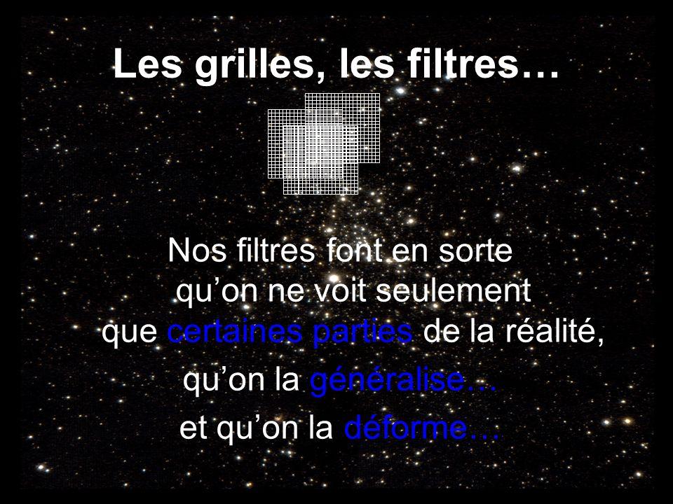 Les grilles, les filtres… Nos filtres font en sorte quon ne voit seulement que certaines parties de la réalité, quon la généralise… et quon la déforme