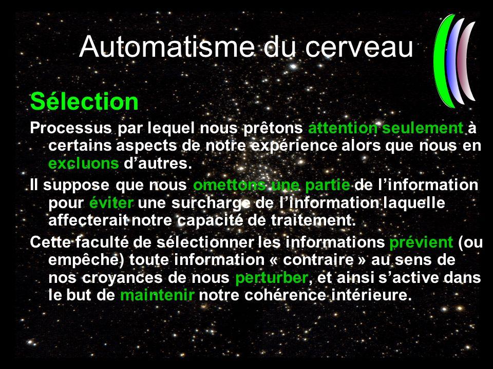 Automatisme du cerveau Sélection Processus par lequel nous prêtons attention seulement à certains aspects de notre expérience alors que nous en excluo