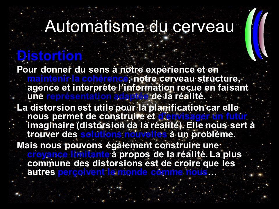 Automatisme du cerveau Distortion Pour donner du sens à notre expérience et en maintenir la cohérence, notre cerveau structure, agence et interprète l