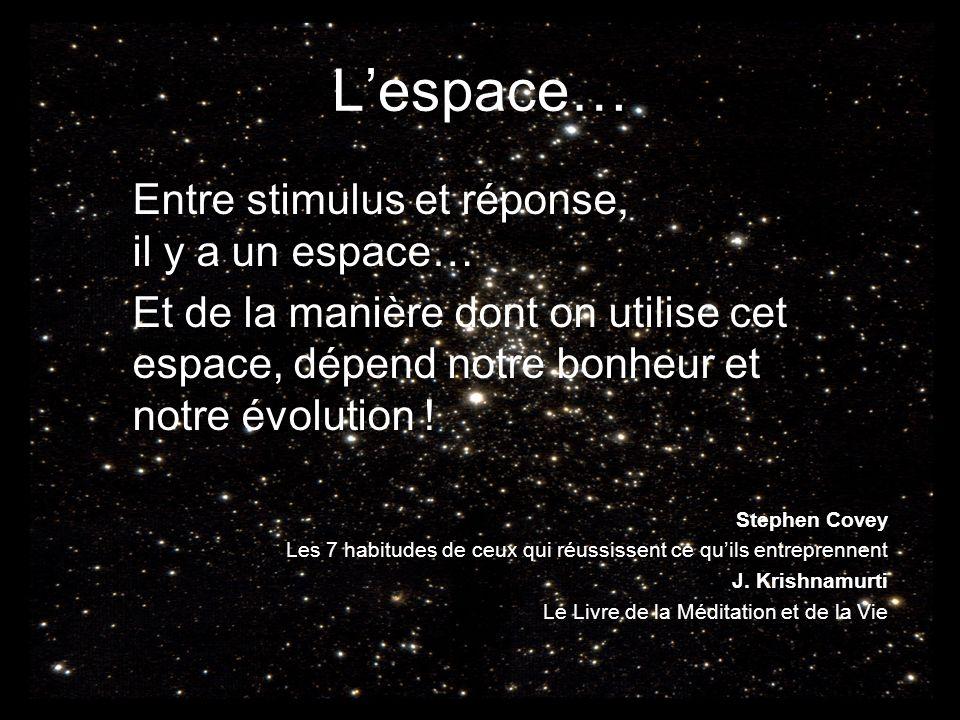 Lespace… Entre stimulus et réponse, il y a un espace… Et de la manière dont on utilise cet espace, dépend notre bonheur et notre évolution ! Stephen C