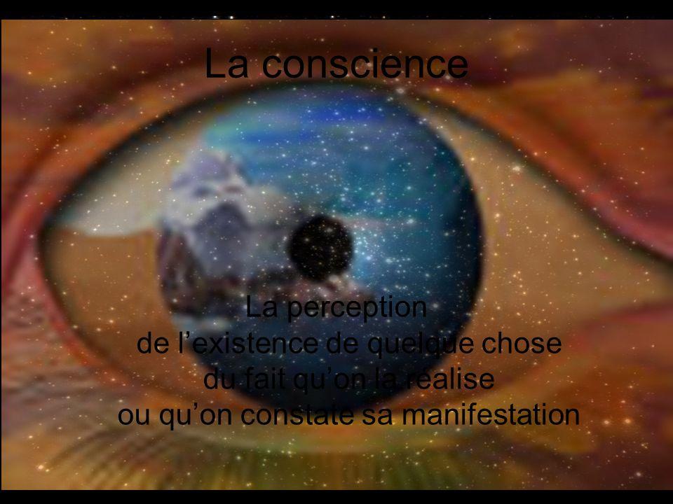 La conscience La perception de lexistence de quelque chose du fait quon la réalise ou quon constate sa manifestation