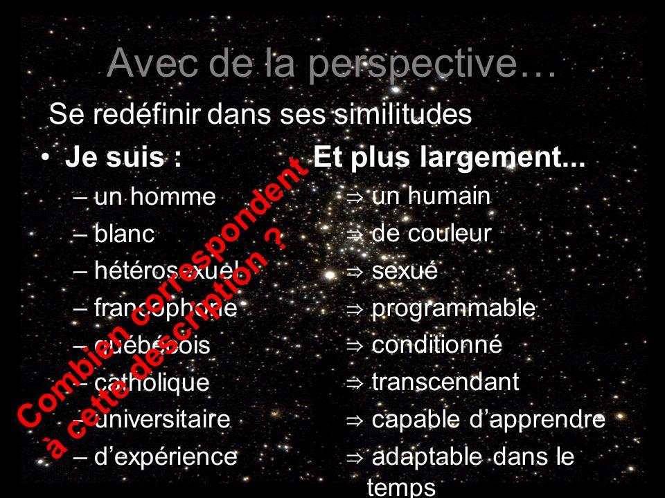 Avec de la perspective… Se redéfinir dans ses similitudes Je suis : –un homme –blanc –hétérosexuel –francophone –québécois –catholique –universitaire