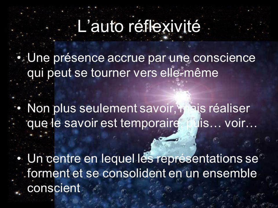 Lauto réflexivité Une présence accrue par une conscience qui peut se tourner vers elle-même Non plus seulement savoir, mais réaliser que le savoir est