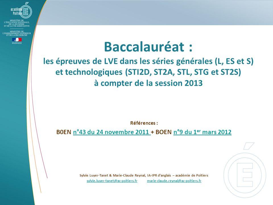 Baccalauréat : les épreuves de LVE dans les séries générales (L, ES et S) et technologiques (STI2D, ST2A, STL, STG et ST2S) à compter de la session 20