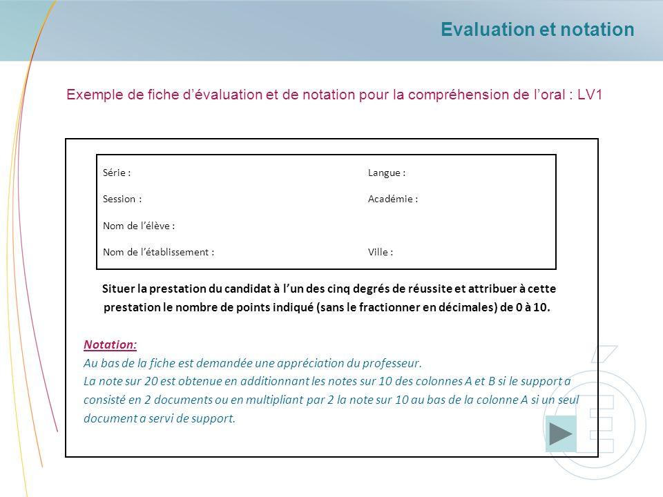 Evaluation et notation Exemple de fiche dévaluation et de notation pour la compréhension de loral : LV1 Situer la prestation du candidat à lun des cin