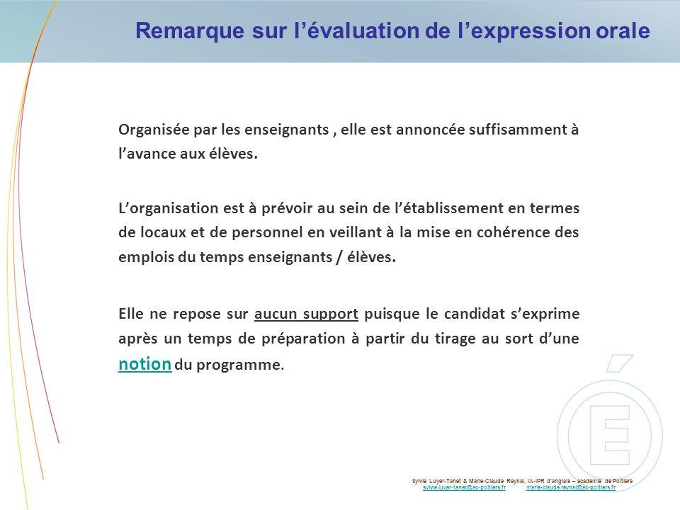 Remarque sur lévaluation de lexpression orale Organisée par les enseignants, elle est annoncée suffisamment à lavance aux élèves. Lorganisation est à