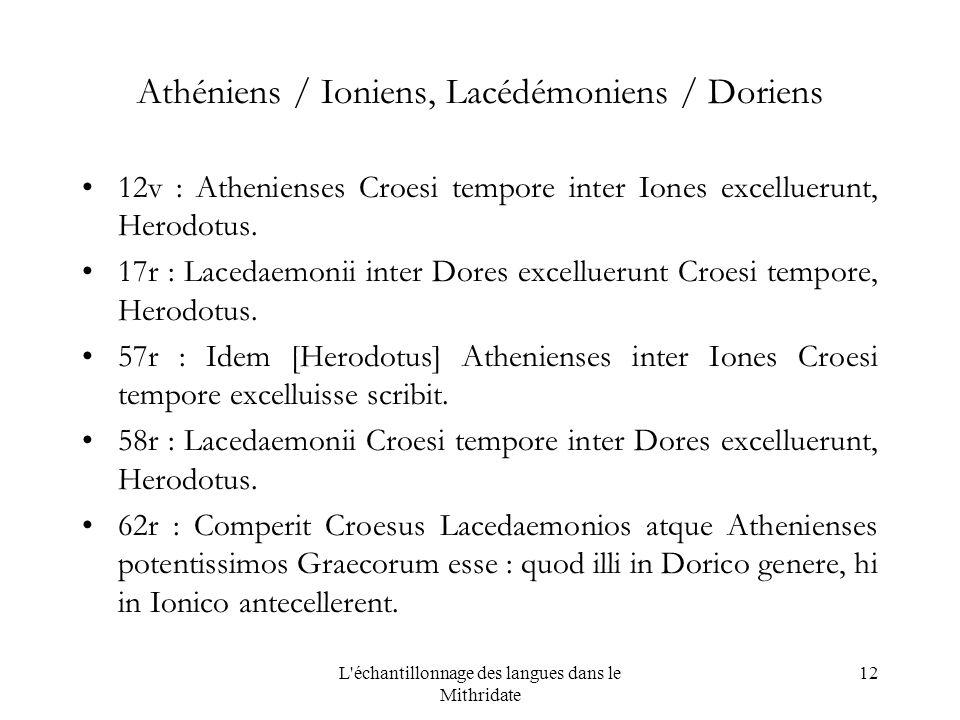 L échantillonnage des langues dans le Mithridate 12 Athéniens / Ioniens, Lacédémoniens / Doriens 12v : Athenienses Croesi tempore inter Iones excelluerunt, Herodotus.