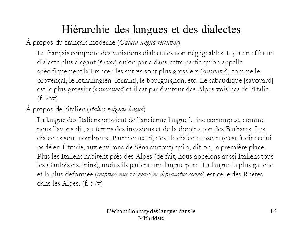 L échantillonnage des langues dans le Mithridate 16 Hiérarchie des langues et des dialectes À propos du français moderne (Gallica lingua recentior) Le français comporte des variations dialectales non négligeables.