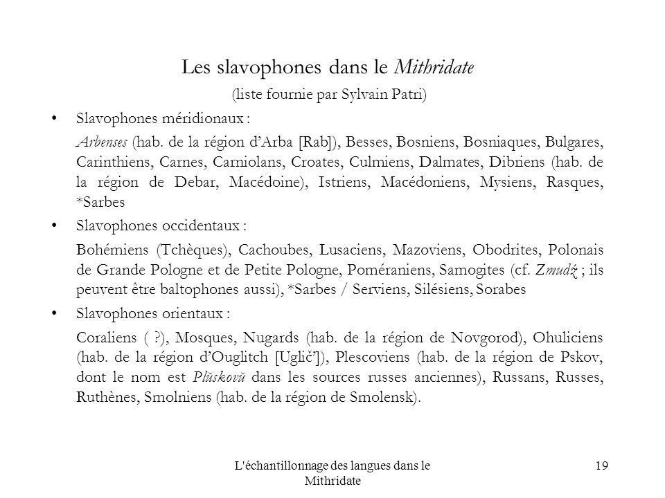 L échantillonnage des langues dans le Mithridate 19 Les slavophones dans le Mithridate (liste fournie par Sylvain Patri) Slavophones méridionaux : Arbenses (hab.