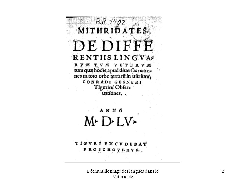 L échantillonnage des langues dans le Mithridate 2 photo page de titre