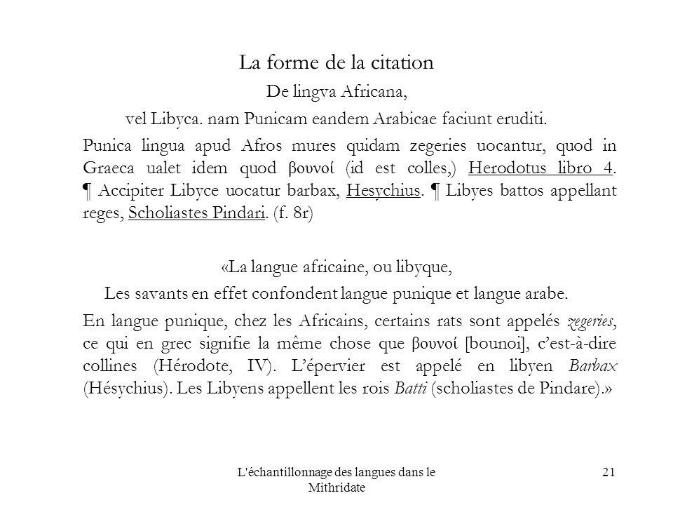 L échantillonnage des langues dans le Mithridate 21 La forme de la citation De lingva Africana, vel Libyca.