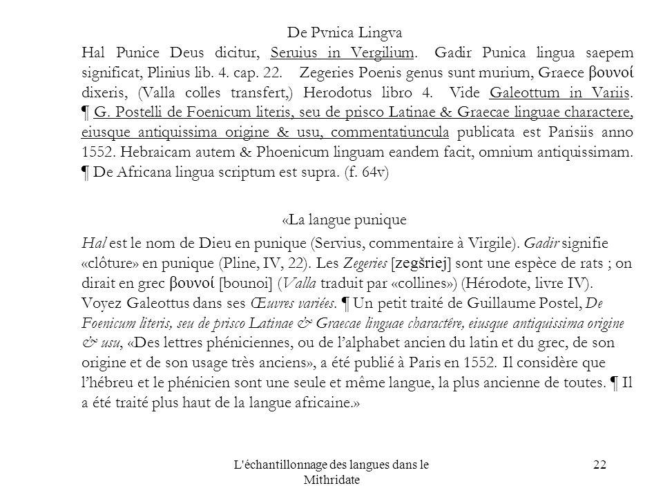 L échantillonnage des langues dans le Mithridate 22 De Pvnica Lingva Hal Punice Deus dicitur, Seruius in Vergilium.