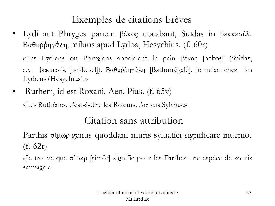 L échantillonnage des langues dans le Mithridate 23 Exemples de citations brèves Lydi aut Phryges panem β κος uocabant, Suidas in βεκκεσ λ.