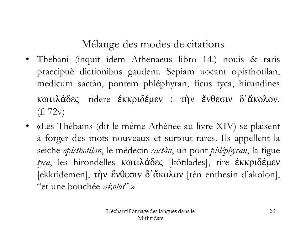 L échantillonnage des langues dans le Mithridate 26 Mélange des modes de citations Thebani (inquit idem Athenaeus libro 14.) nouis & raris praecipuè dictionibus gaudent.
