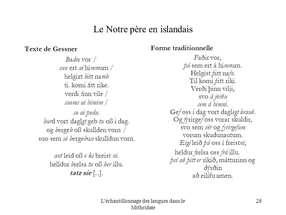 L échantillonnage des langues dans le Mithridate 28 Le Notre père en islandais Texte de Gessner Bader vor / sun ert ai himmum / helgizt bitt namb ti.