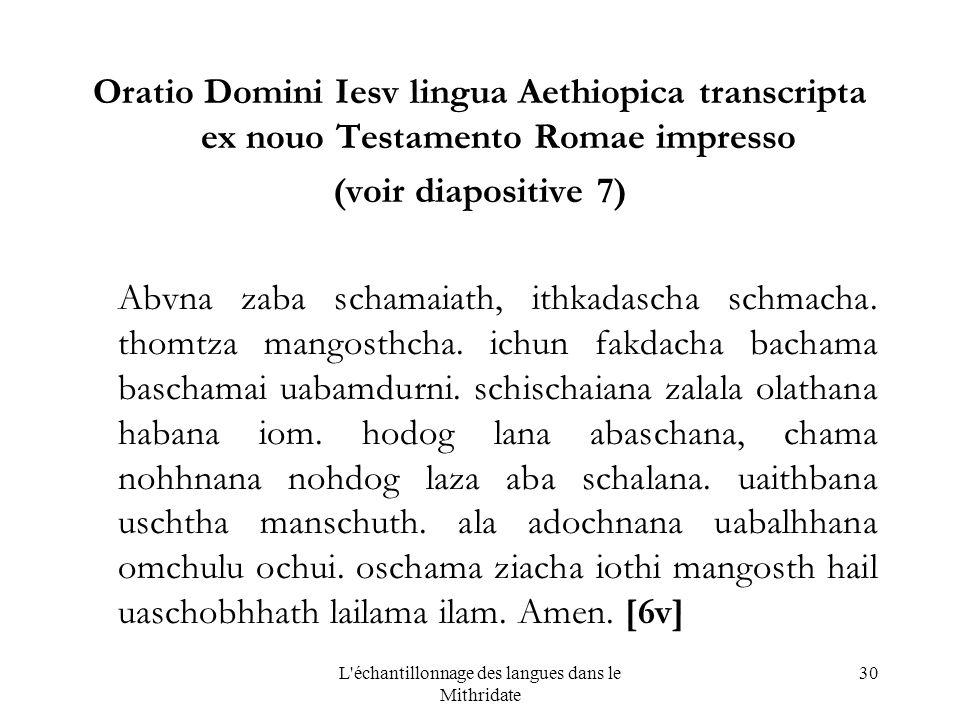 L échantillonnage des langues dans le Mithridate 30 Oratio Domini Iesv lingua Aethiopica transcripta ex nouo Testamento Romae impresso (voir diapositive 7) Abvna zaba schamaiath, ithkadascha schmacha.