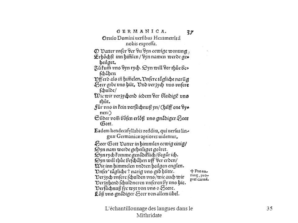 L échantillonnage des langues dans le Mithridate 35