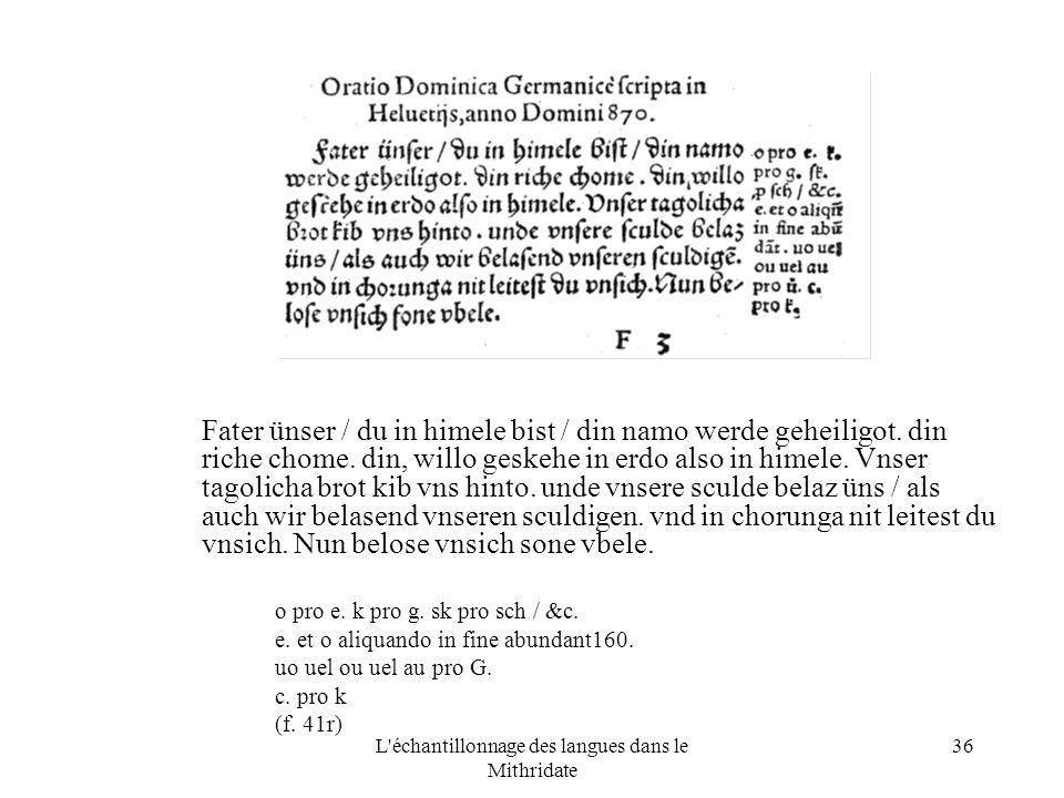 L échantillonnage des langues dans le Mithridate 36 Fater ünser / du in himele bist / din namo werde geheiligot.