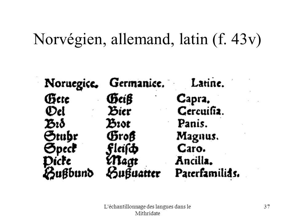 L échantillonnage des langues dans le Mithridate 37 Norvégien, allemand, latin (f. 43v)