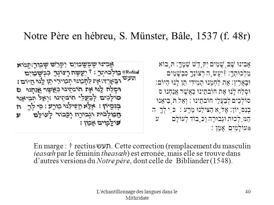 L échantillonnage des langues dans le Mithridate 40 Notre Père en hébreu, S.