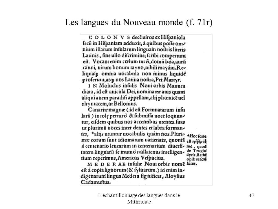 L échantillonnage des langues dans le Mithridate 47 Les langues du Nouveau monde (f. 71r)