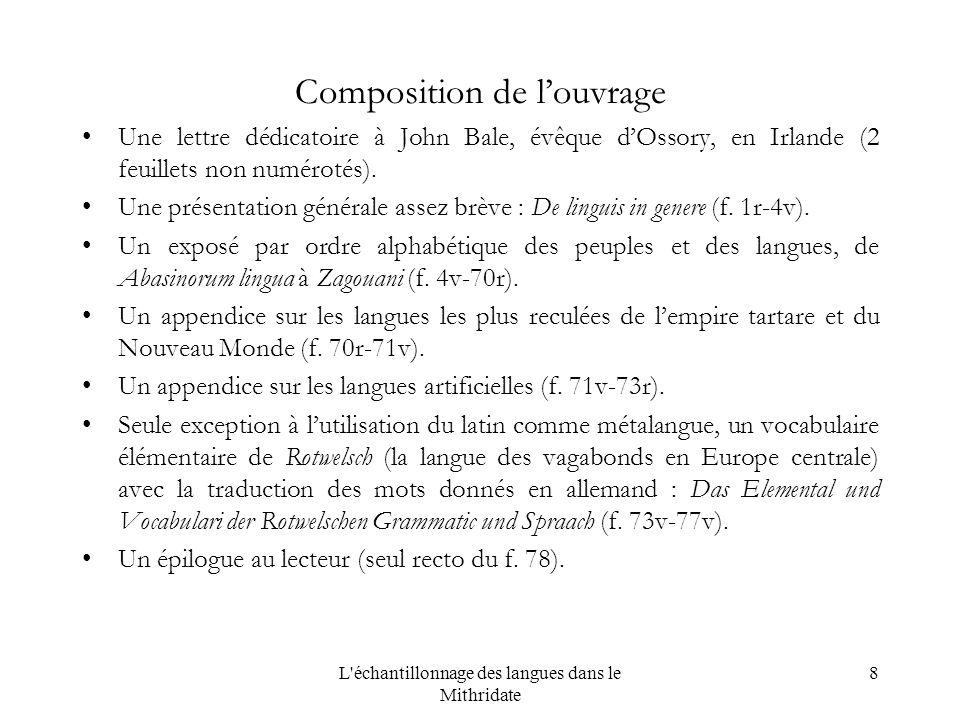 8 Composition de louvrage Une lettre dédicatoire à John Bale, évêque dOssory, en Irlande (2 feuillets non numérotés).