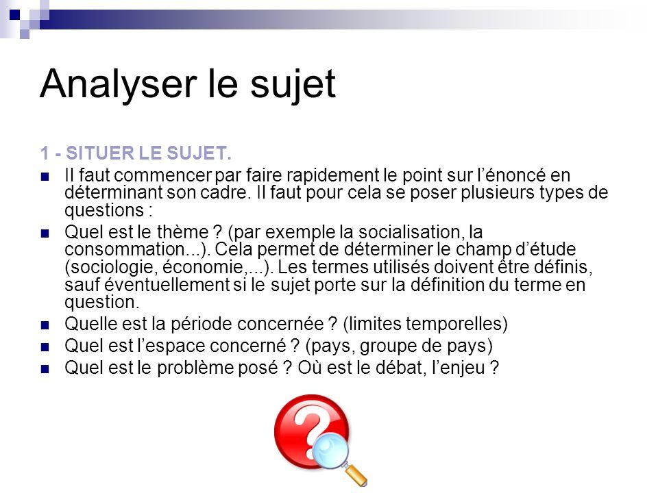 Analyser le sujet 2 - REPERER LES TERMES PERMETTANT DIDENTIFIER LE TYPE DE SUJET.