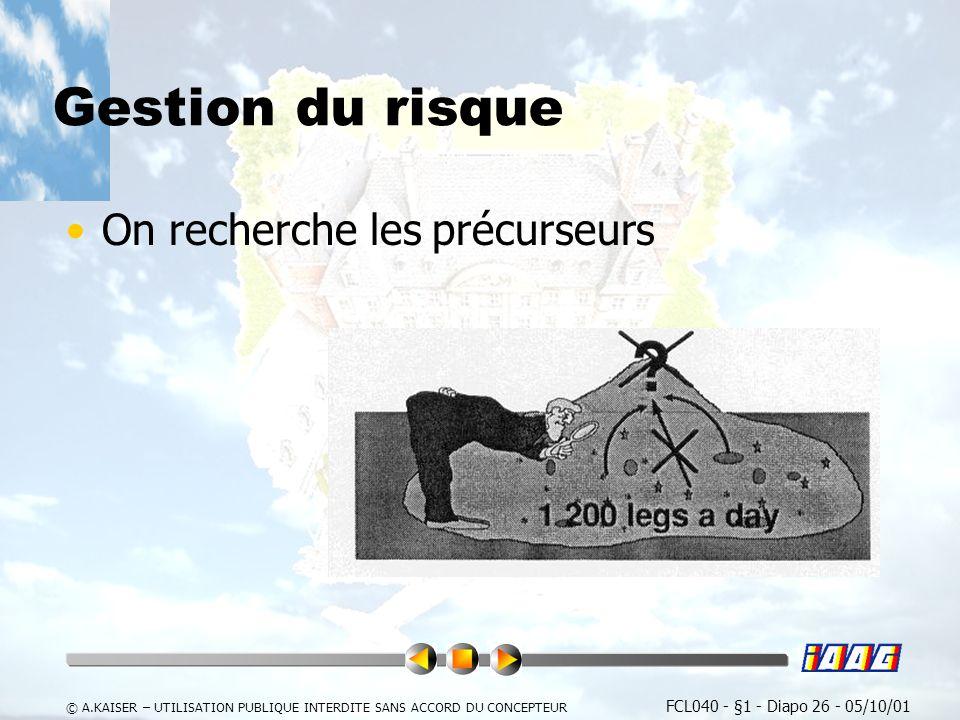 FCL040 - §1 - Diapo 26 - 05/10/01 © A.KAISER – UTILISATION PUBLIQUE INTERDITE SANS ACCORD DU CONCEPTEUR Gestion du risque On recherche les précurseurs