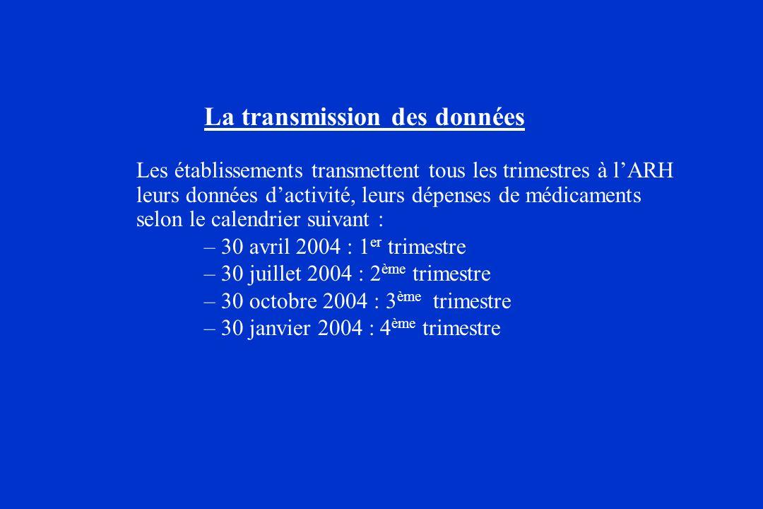 La transmission des données Les établissements transmettent tous les trimestres à lARH leurs données dactivité, leurs dépenses de médicaments selon le