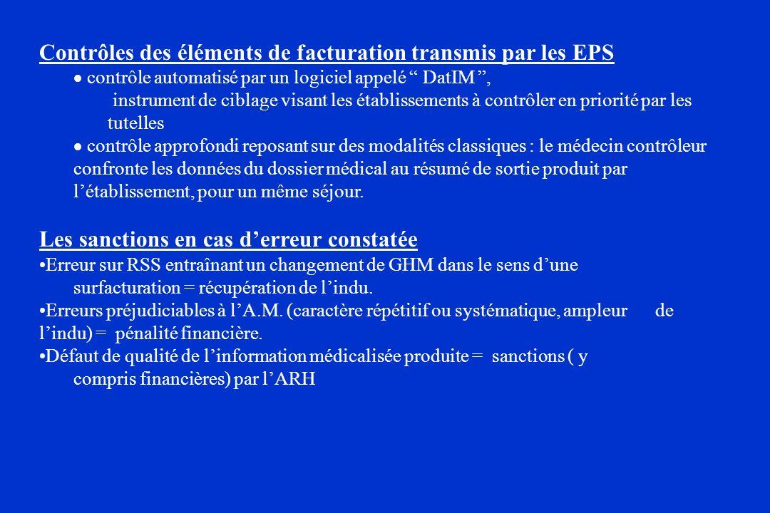 Contrôles des éléments de facturation transmis par les EPS contrôle automatisé par un logiciel appelé DatIM, instrument de ciblage visant les établiss